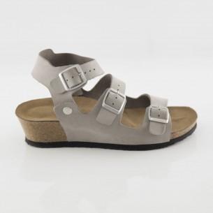 Alabanda Hakiki Deri Gri Platform Sandalet