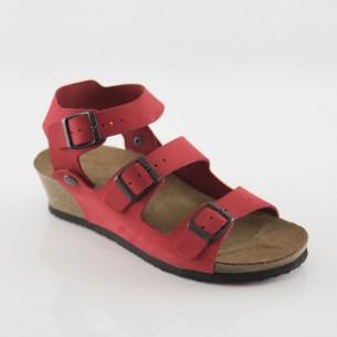Alabanda Hakiki Deri Kırmızı Platform Sandalet