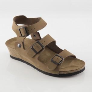 Alabanda Hakiki Deri Kum Platform Sandalet
