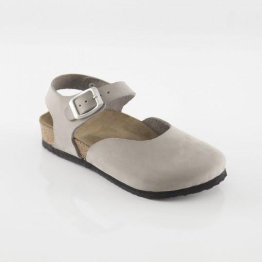 Dodgeball Hakiki Deri Gri Sandalet