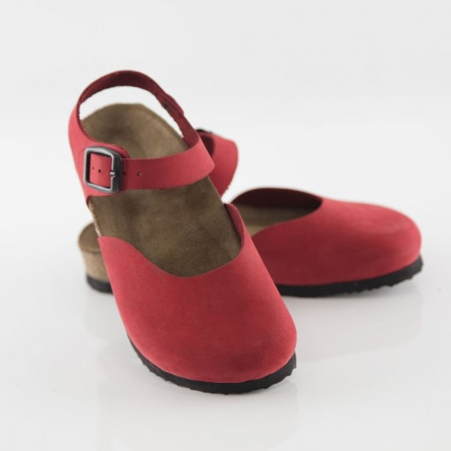 Dodgeball Hakiki Deri Kırmızı Sandalet