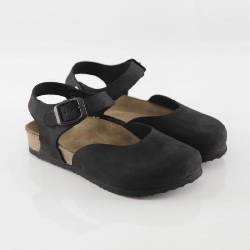 Dodgeball Hakiki Deri Siyah Sandalet