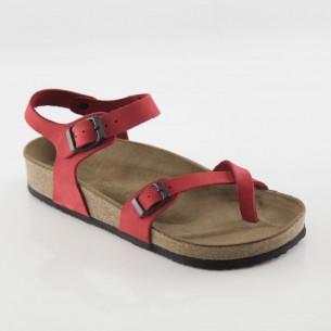 Ephesus Hakiki Deri Kırmızı Parmak Arası Sandalet