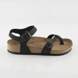 Ephesus Hakiki Deri Siyah Parmak Arası Sandalet