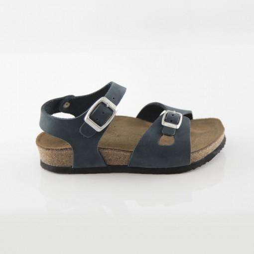 Hopscotch Hakiki Deri Lacivert Kız Sandalet