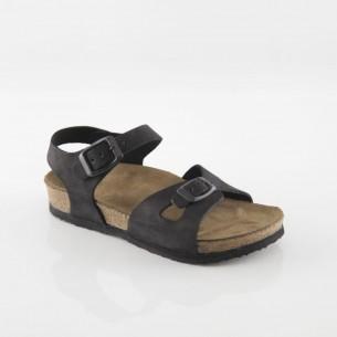 Hopscotch Hakiki Deri Siyah Kız Sandalet