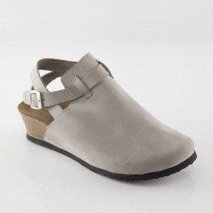 Letoon Hakiki Deri Gri Platform Sandalet