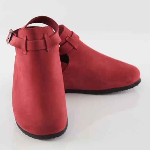 Letoon Hakiki Deri Kırmızı Platform Sandalet