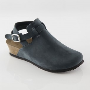 Letoon Hakiki Deri Lacivert Platform Sandalet