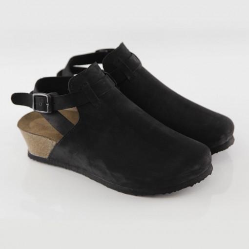 Letoon Hakiki Deri Siyah Platform Sandalet
