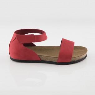 Limyra Hakiki Deri Kırmızı Slim Sandalet