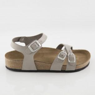 Pergamon Hakiki Deri Gri Çift Şeritli Sandalet