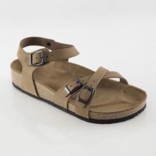 Pergamon Hakiki Deri Kum Çift Şeritli Sandalet