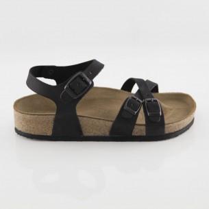 Pergamon Hakiki Deri Siyah Çift Şeritli Sandalet