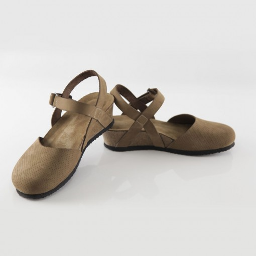 Perge Hakiki Deri Kum Platform Sandalet