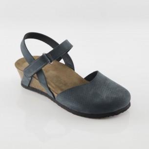Perge Hakiki Deri Lacivert Platform Sandalet