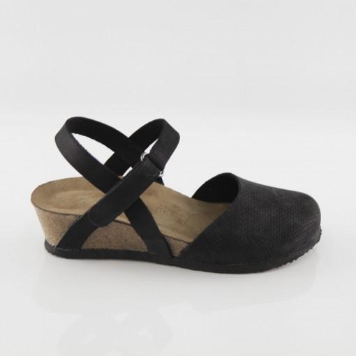 Perge Hakiki Deri Siyah Platform Sandalet