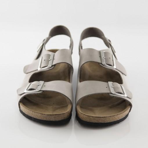 Phaselis Hakiki Deri Gri Sandalet