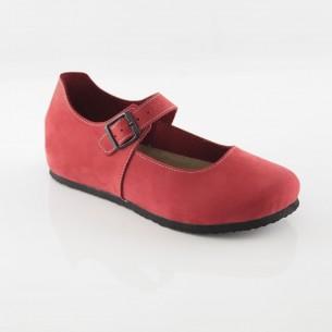 Termessos Hakiki Deri Kırmızı Slim Babet