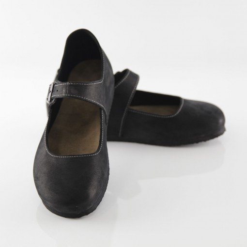 Termessos Hakiki Deri Siyah Slim Babet