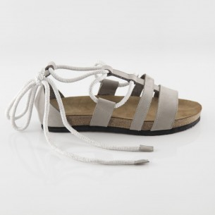 Troya Hakiki Deri Gri Slim Sandalet