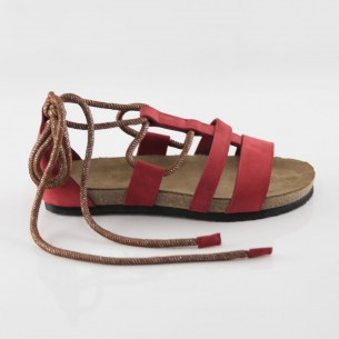 Troya Hakiki Deri Kırmızı Slim Sandalet