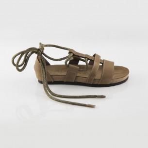 Troya Hakiki Deri Kum Slim Sandalet