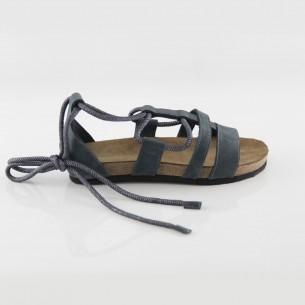 Troya Hakiki Deri Lacivert Slim Sandalet
