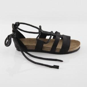 Troya Hakiki Deri Siyah Slim Sandalet